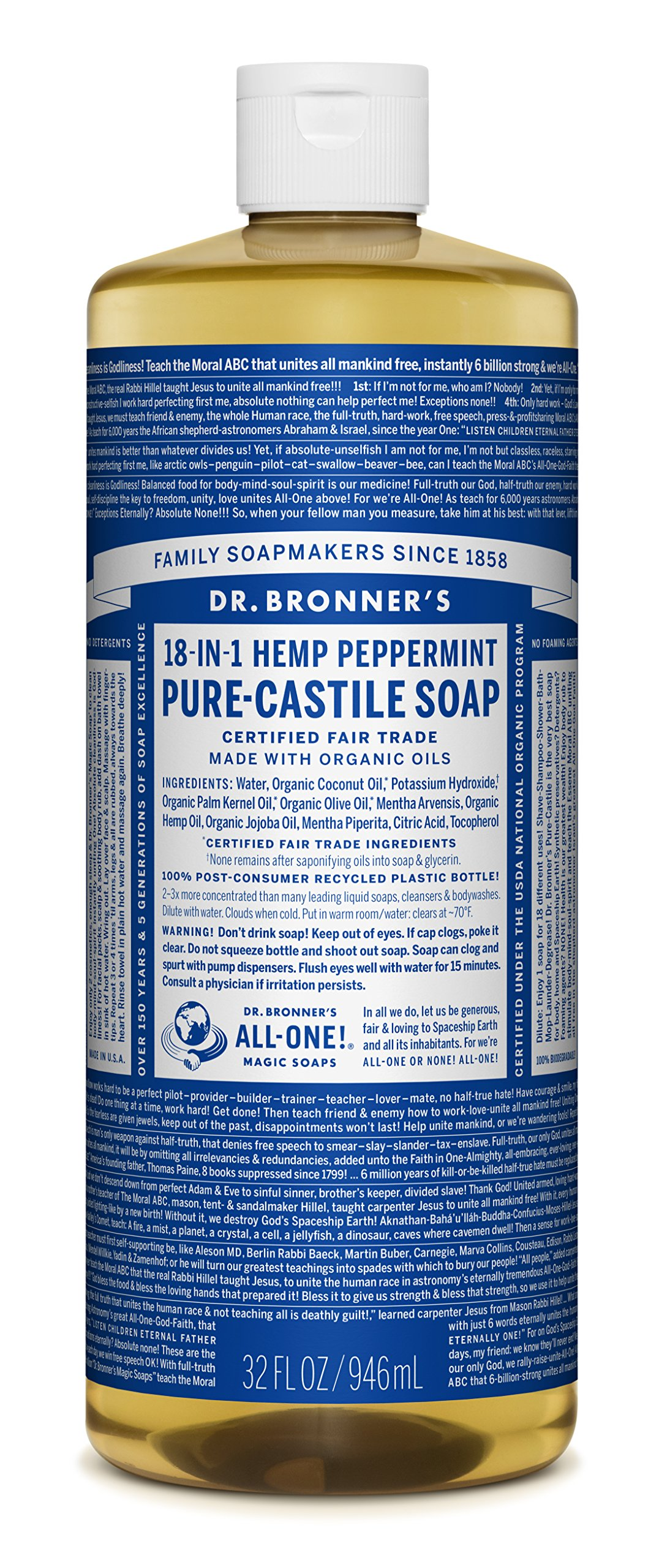 Dr. Bronner's Pure Liquid Castile Soap - Peppermint 32oz