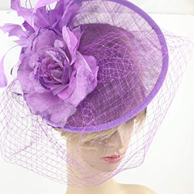 4b737b6d85d61 Image Unavailable. Image not available for. Color  The Original Tree Purple  Sinamay Fascinator Hat ...