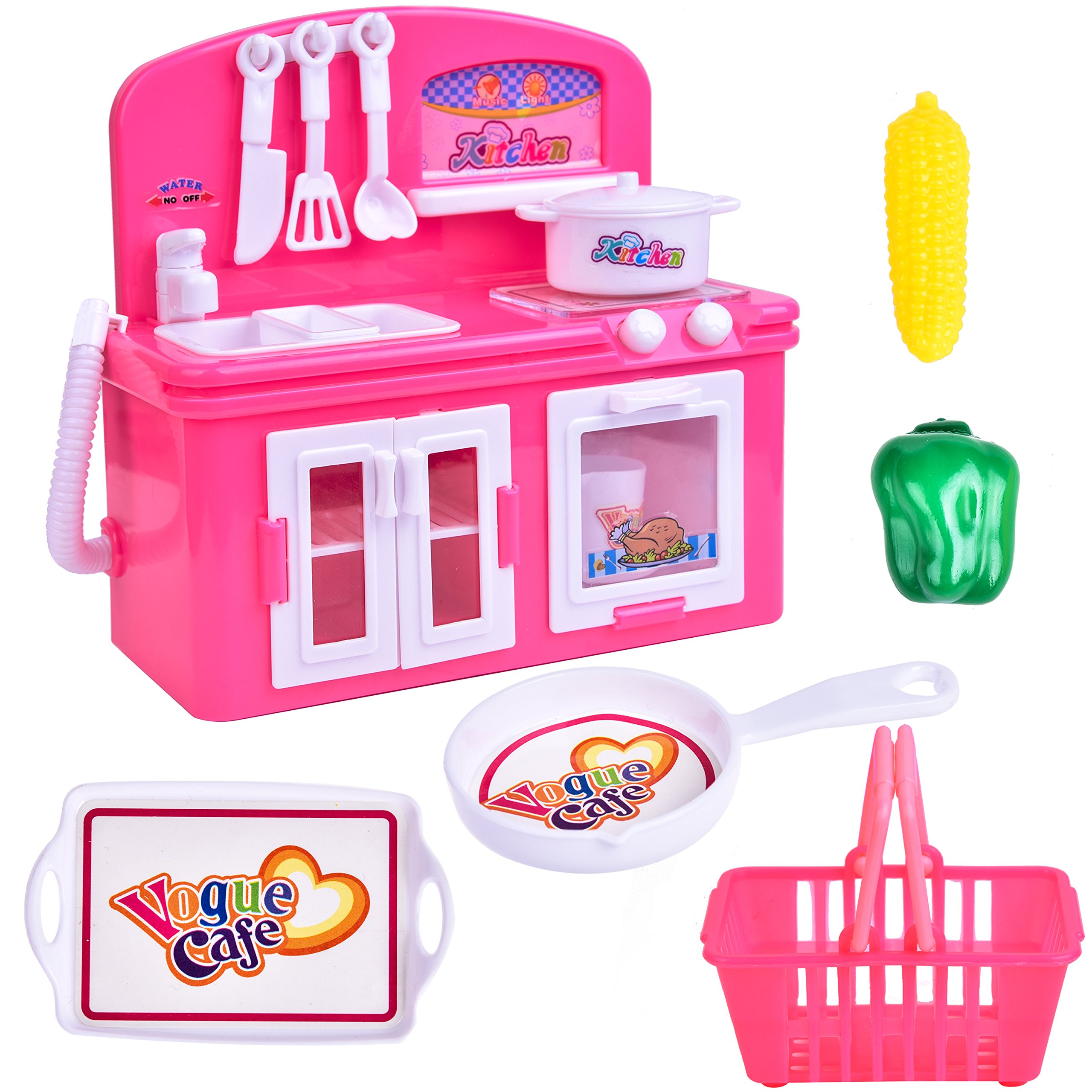 FUN LITTLE TOYS Toy Kitchen Appliances for Girls, Stove Burner with Oven, Food Playset, Play Kitchen Accessories for Toddlers and Kids, 3 + Year Old Girl Gifts by FUN LITTLE TOYS