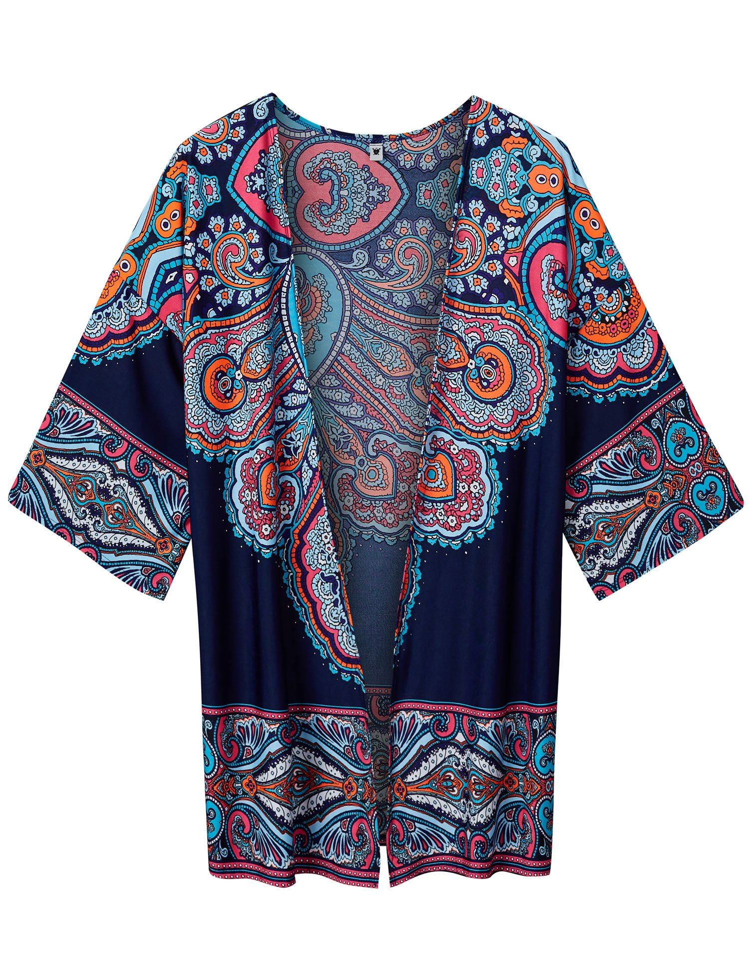 Lock and Love WT1576 Womens Printed Kimono Shawl Cardigan Top - Made in USA OS Navy_Pink