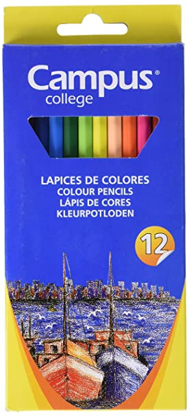 Campus University MKP9201-12CB - Lápices de colores triangulares, set de 12 unidades