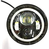 HARD KNIT Tarsier 50W H4 LED Headlight for Royal Enfield Bullet with DRL Angle Eye Projector,7-inch