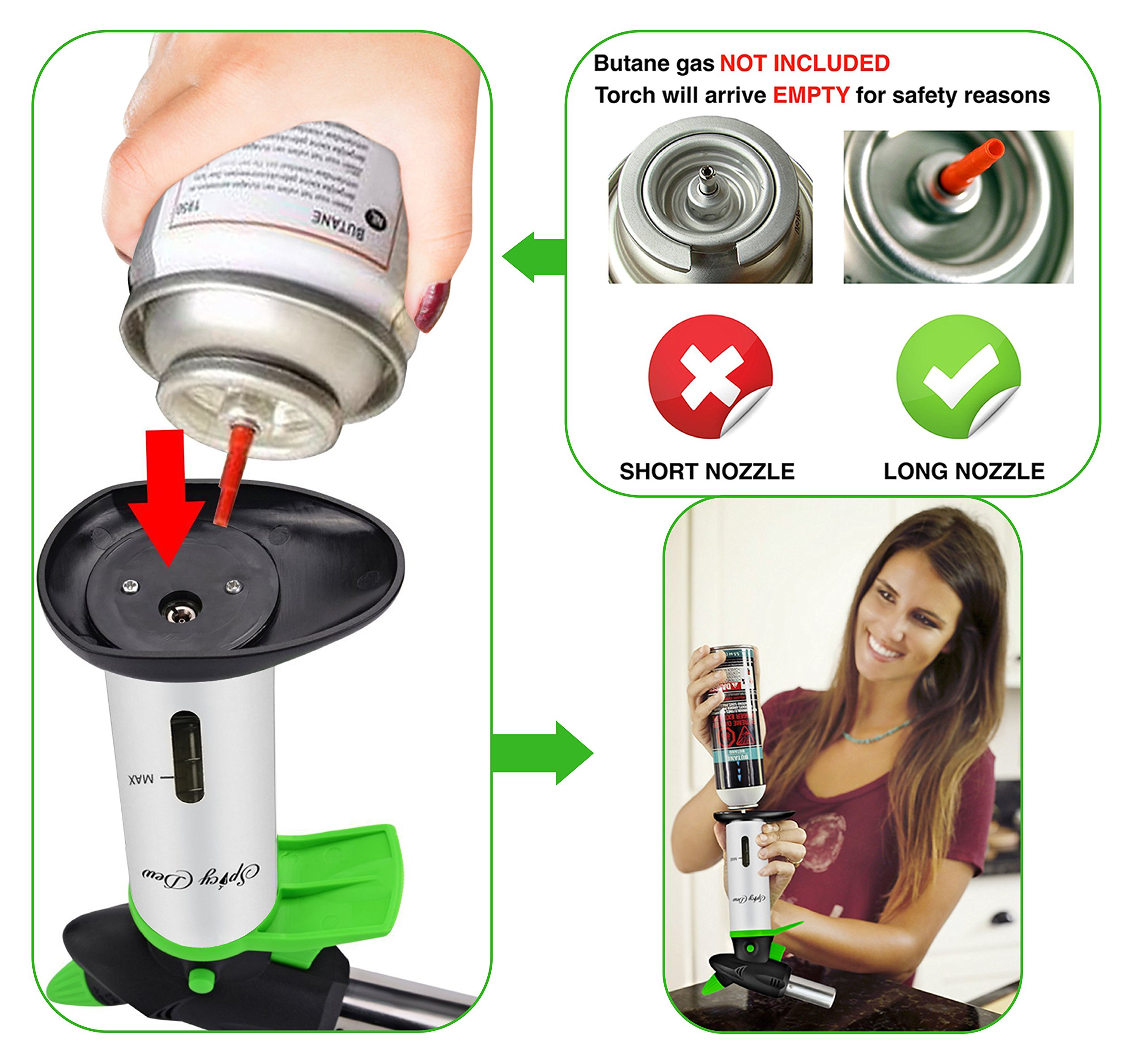 Blow Torch - Best Creme Brulee Torch - Refillable Professional Kitchen Torch with Safety Lock and Adjustable Flame - Culinary Torch - Micro Butane Torch with Fuel Gauge - Cooking Torch - Food Torch by Spicy Dew (Image #6)