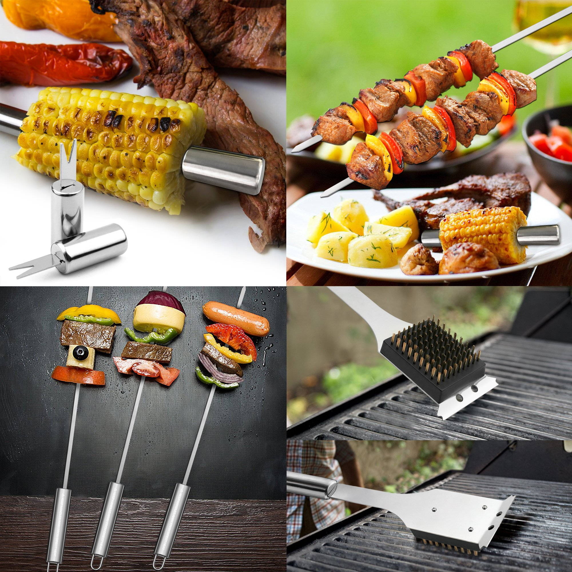 GRILLART BBQ Grill Utensil Tools Set Reinforced BBQ Tongs 19-Piece Stainless-Steel Barbecue Grilling Accessories with Aluminum Storage Case -Complete Outdoor Grill Kit for Dad, Birthday Gift for Man by GRILLART (Image #6)