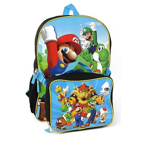 """Super Mario niños 16 """"Mochila con bolsa de almuerzo"""