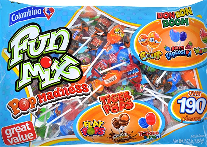 Colombina Fun Mix Pop Madness Lollipops Multi Flavor, Over 190 Pieces