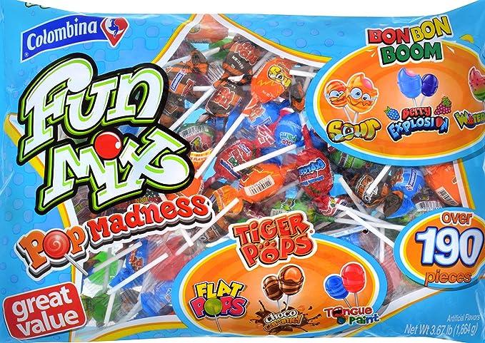 Colombina Fun Mix Pop Madness Lollipops Multi Flavor, Over 190 Pieces