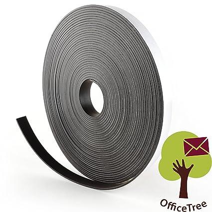 OfficeTree ® Cinta mágnética - 10 m - Cinta autoadhesiva para la imantación fija de carteles, fotos, papeles - Adherencia extra fuerte sobre pizarra ...