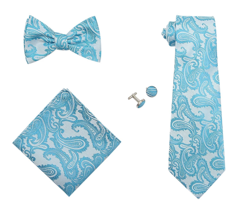 JAIFEI Gentleman's Gift Set - Paisley Woven Necktie, Pocket Square, Bowtie & Cufflinks (Pink) CA Paisley Necktie 4 Set Pink