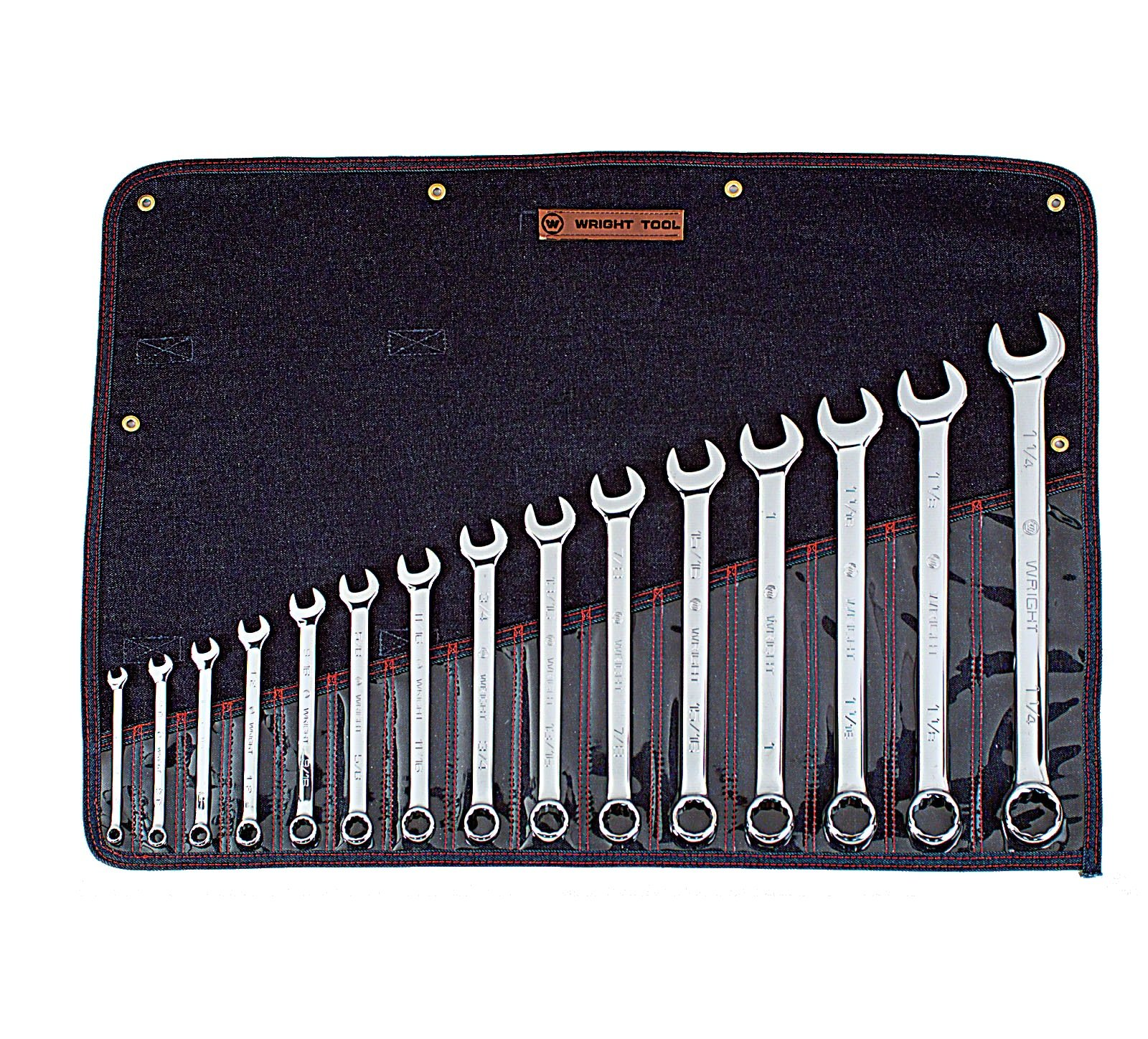 Wright Tool 915 Full Polish 12 Point Combination Wrench Set 5/16'' - 1-1/4'' (15-Piece) by Wright Tool