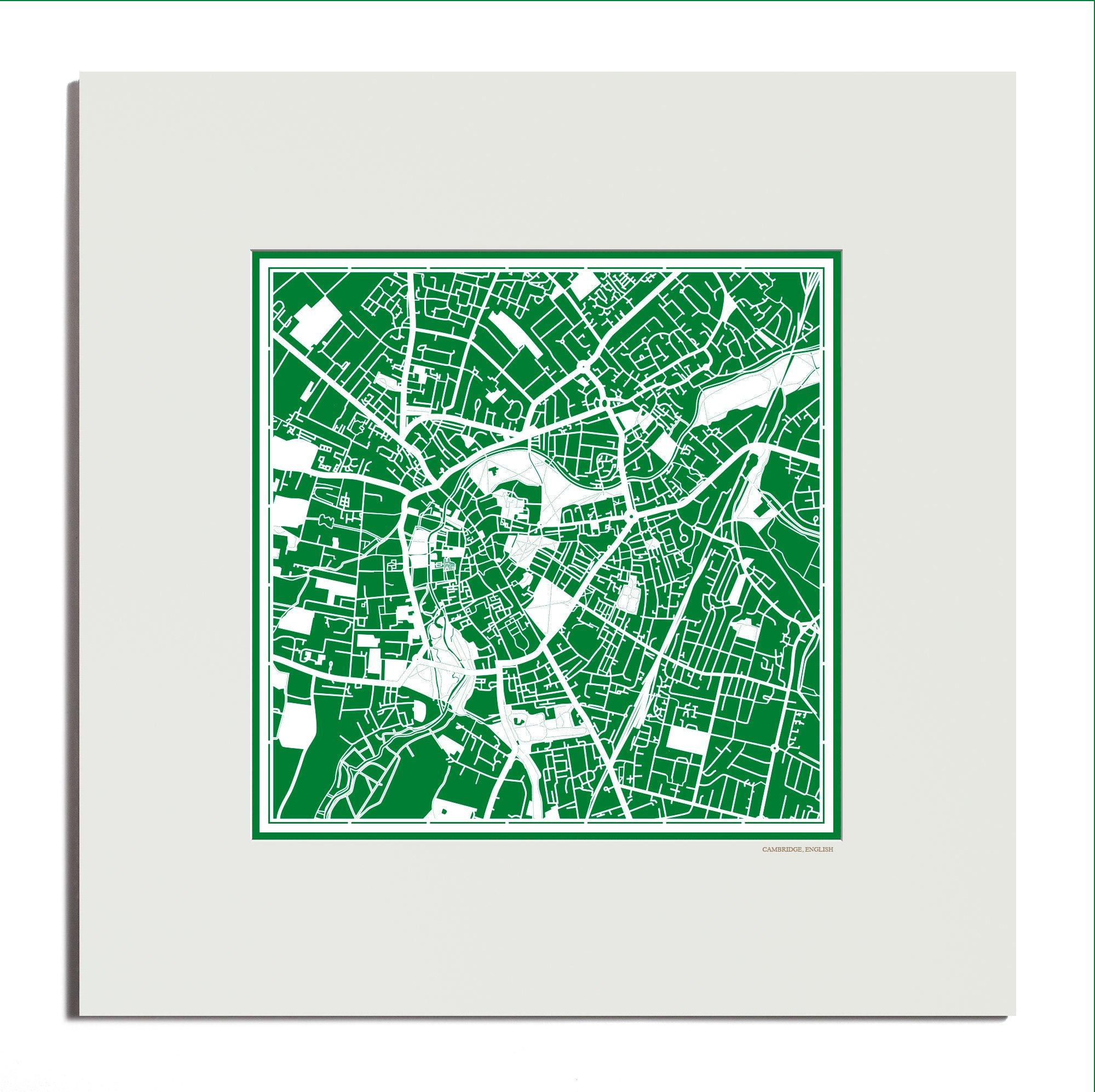 O3 Design Studio Cambridge, England Paper Cut Map Matted Green 20x20 In. Paper Art