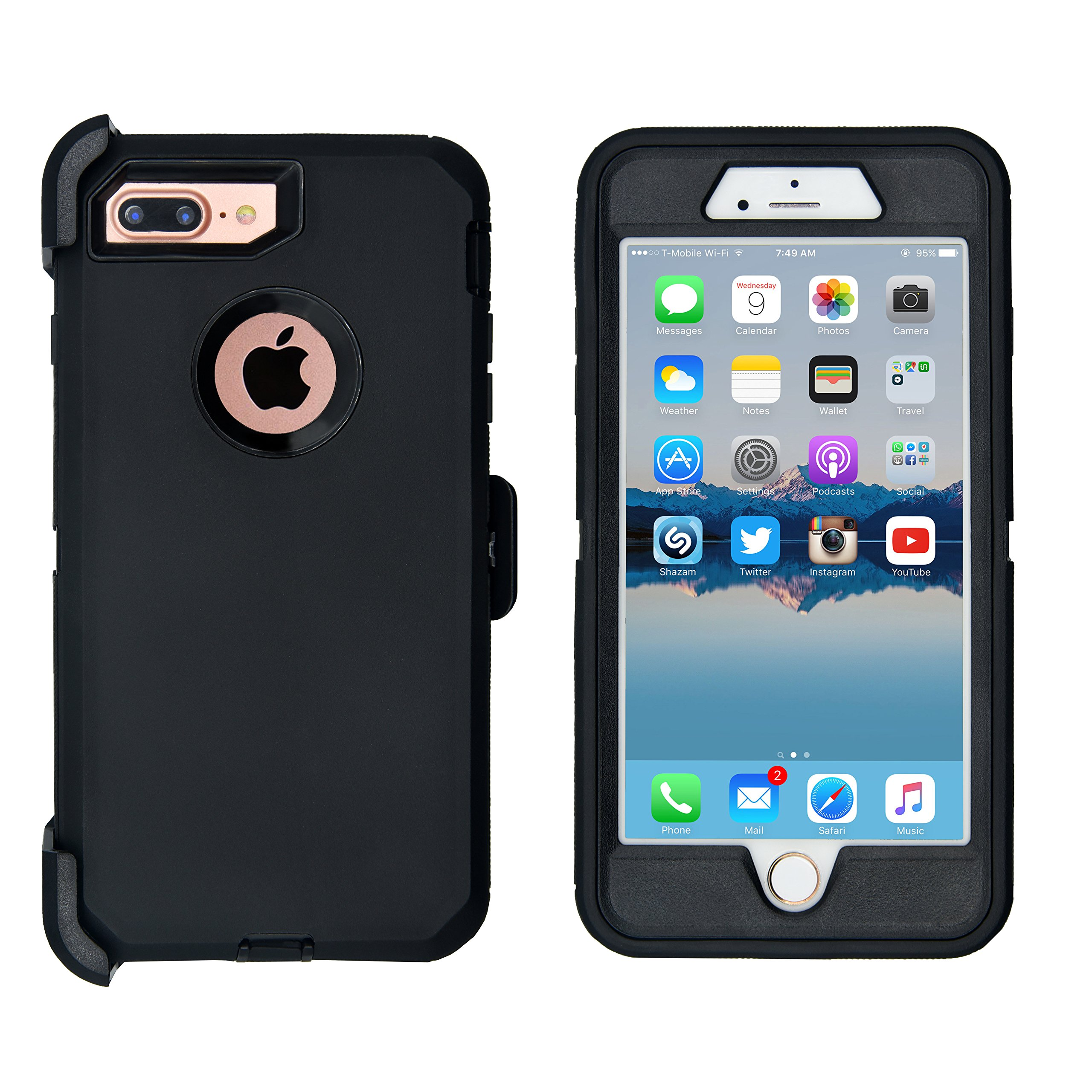 iPhone 7 Plus / 8 Plus Cover | 2-in-1 Screen Protector & Holster Case | Full Body, Military Grade Edge-to-Edge Protection with carrying belt clip Black / Black by AlphaCell (Image #3)