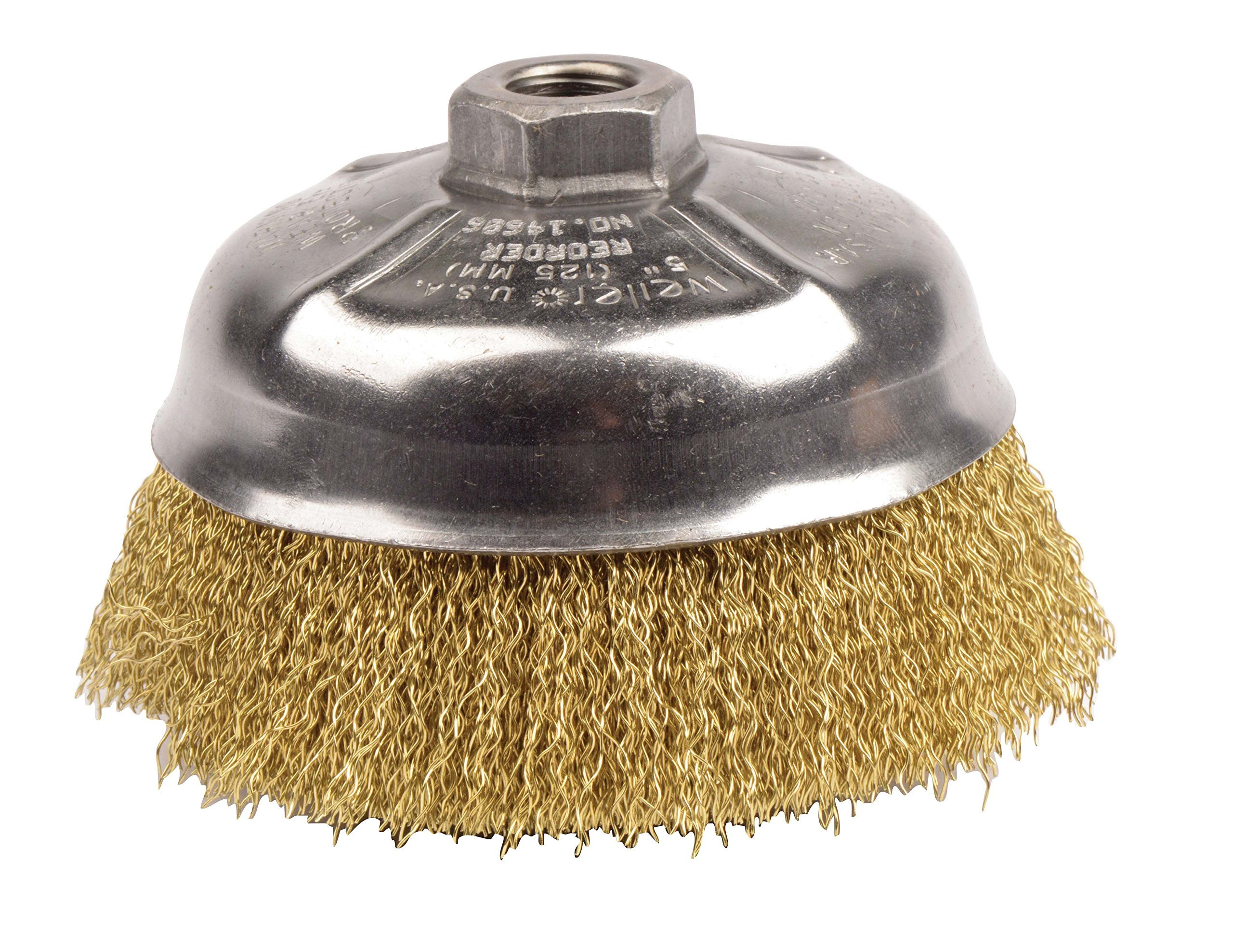 Weiler 14606 Crimped Wire Cup Brush, 5'', 0.14'' Brass Fill, 5/8''-11 UNC Nut