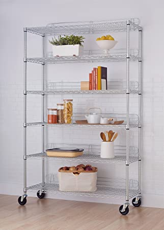 Elegant TRINITY EcoStorage 6 Tier NSF Wire Shelving Rack With Wheels, 48 By 18 By