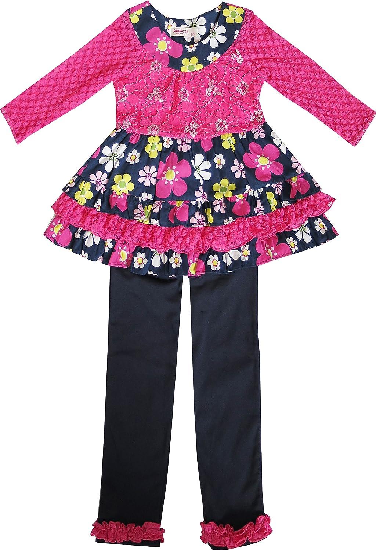Sunny Fashion Girls Outfit Set 2 Pecs Shirt Legging Pink Flower Everyday