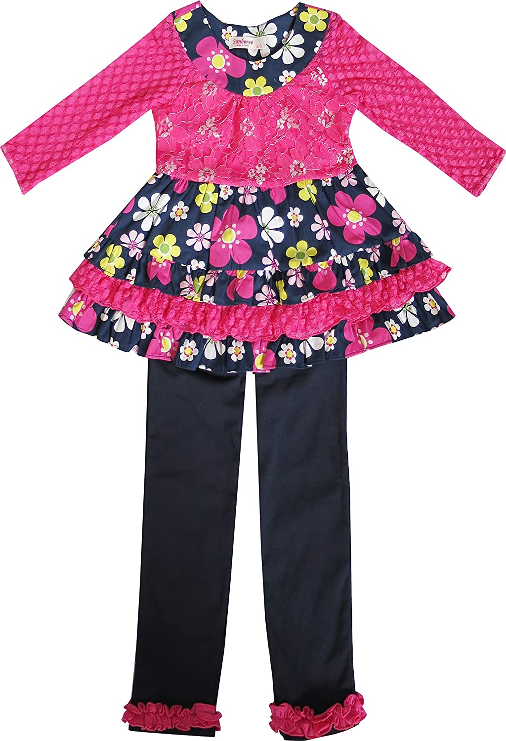 Sunny Fashion Girls Outfit Set 2 Pecs Shirt Legging Pink Flower Everyday
