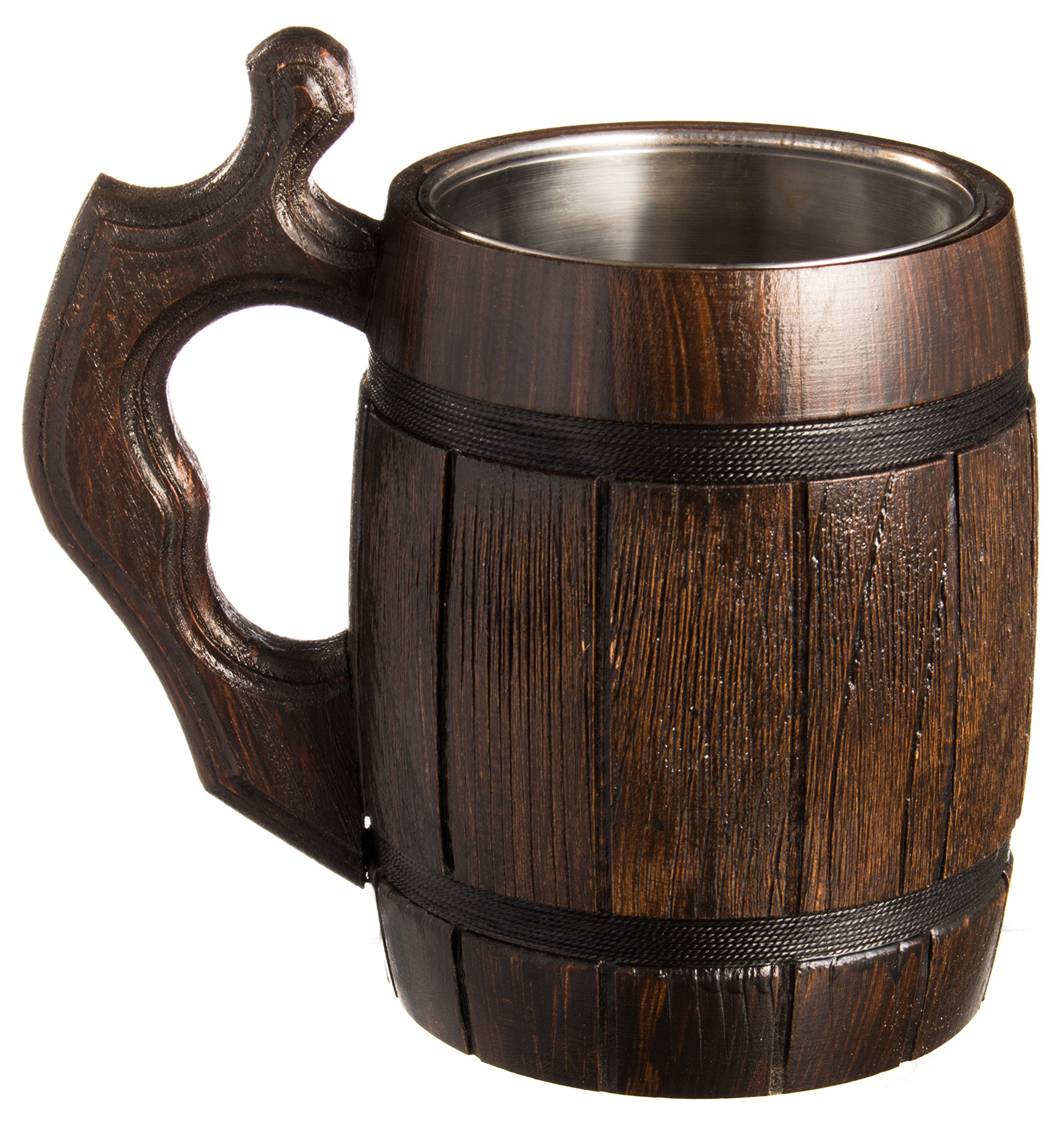 Handmade Beer Mug Set of 6 Wood Natural Stainless Steel Cup Men Gift Eco-Friendly Barrel Souvenir Round Brown by MyFancyCraft (Image #4)