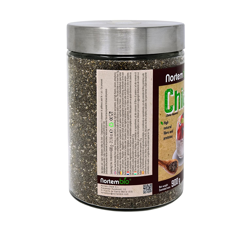 Semillas de Chia (Salvia hispanica) Natural NortemBio 900g, Calidad Premium. Extra de Omega 3, Fibra y Proteína de Origen Vegetal.