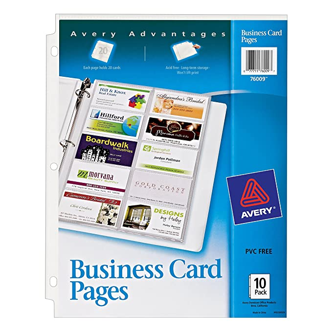 Amazon avery business card pages pack of 10 76009 amazon avery business card pages pack of 10 76009 business card sleeves office products reheart Image collections