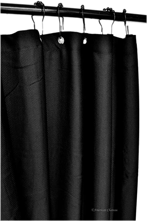 Charmant 70u0026quot; Black Thick Waffle Thick Fabric Shower Curtain With Stainless  Steel Grommets