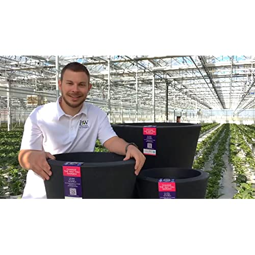 New Crescent Garden Indoor/Outdoor Self-Watering Container, Caviar Black, 16 in. hot sale