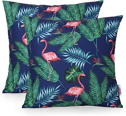 Christopher Knight Home 311808 Beverly Outdoor Throw Pillow Set of 2 , Navy Blue, Multicolor