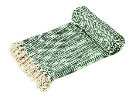 EHC Manta Reversible Tejida a Mano, Individual, para Cubrir sofá o sillón, 125 x 150 cm, Color Verde