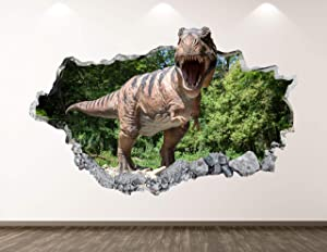 West Mountain Dinosaur Tyrannosaurus Wall Decal Art Decor 3D Smashed Animal Sticker Poster Kids Room Mural Custom Gift BL174 (22
