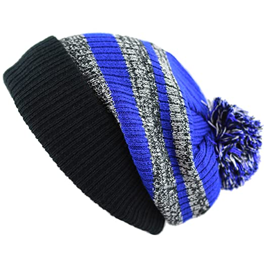 f4c98530 THE HAT DEPOT Striped Cuffed Knit Beanie Winter Hat with Pom Hat ...