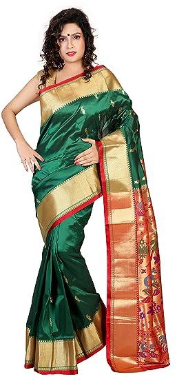 c545abed24d2e ARUNAFASHIONS Women s Raw Silk Saree (PNEWPLANE BOTTLEGREEN MAROON  Bottle  Green  Free Size)