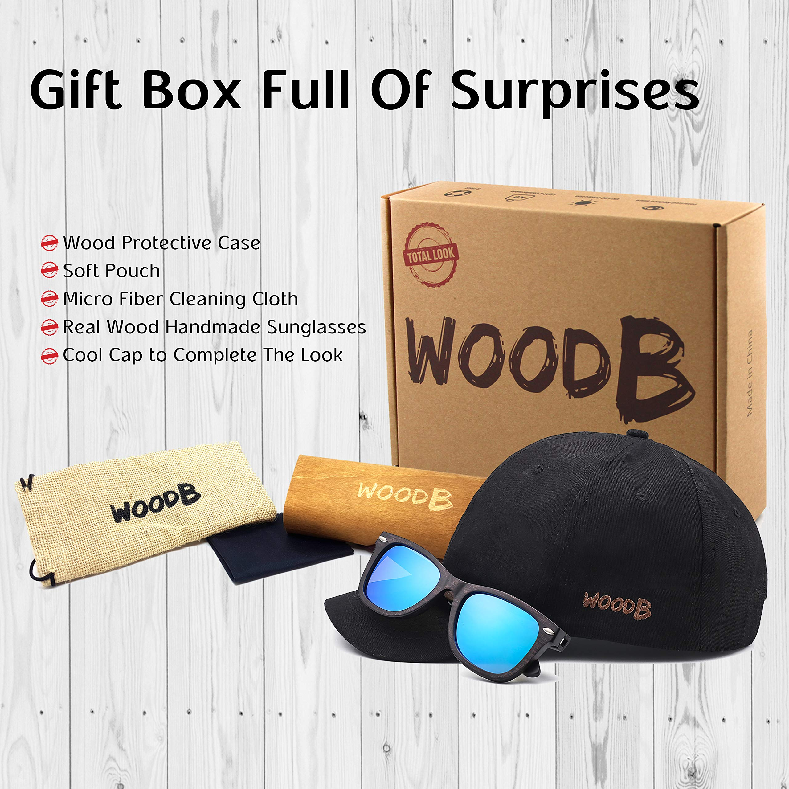 Real Wood Sunglasses Wayfarer UV-400 Polarized Lenses Plus Cap in Gift box by WOODB (Image #2)