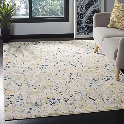 Safavieh Evoke Collection EVK284C Modern Contemporary Abstract Area Rug, 6 7 x 6 7 Square, Ivory Yellow
