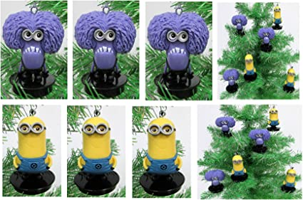 Despicable Me MINIONS Holiday Christmas Ornament Set Unique Shatterproof Plastic Design Holiday Ornaments