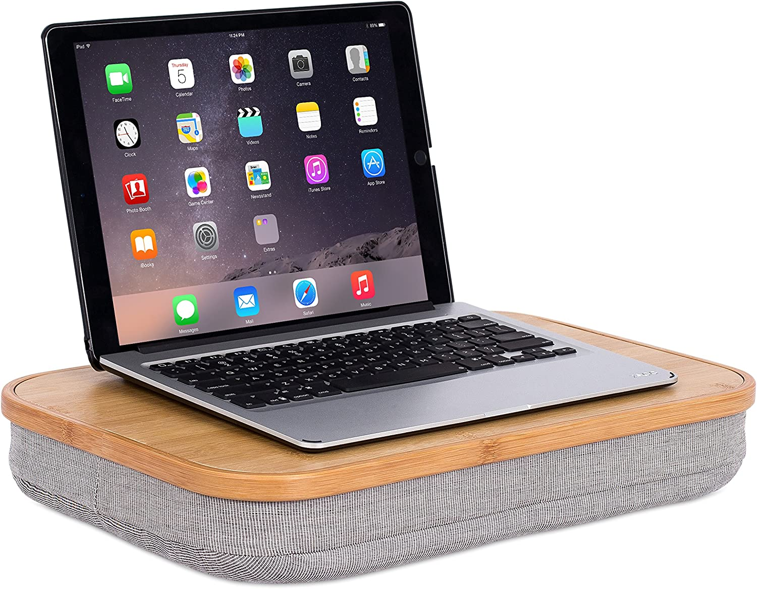 BirdRock Home Lap Desk with Laptop Storage Compartment (Improved) - Work from Home - Pillow Cushioned Laptop Accessories Book Stand - Great for Bed Couch Table Sofa Chair - Food Serving Tray - Grey