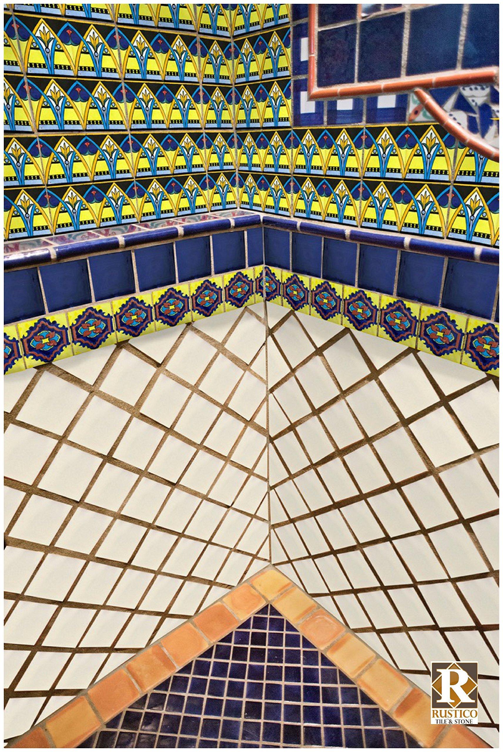 Rustico Tile and Stone TR4COBALT Cobalt Blue Painted Tile Box of 90 4 x 4'', Navy by Rustico Tile and Stone (Image #2)