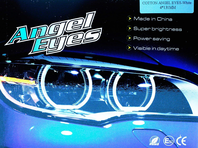 Kit Ringe Augen der Angel LED Cotton 4x 131MM Canbus E46 E39 E38 E36 Wei/ß 6000K Angel Augen Halo Ring E-Pr/üfzeichen