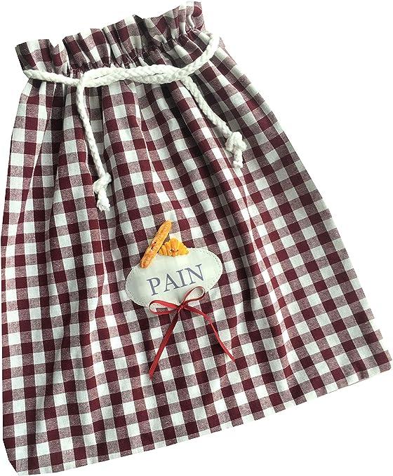 Bolsa para pan algodón con bolsillo, diseño de tela de yute ...