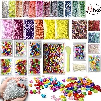 Slime Making Kits suministros, starowl 33 Pack perla, dados, pelotas de espuma,