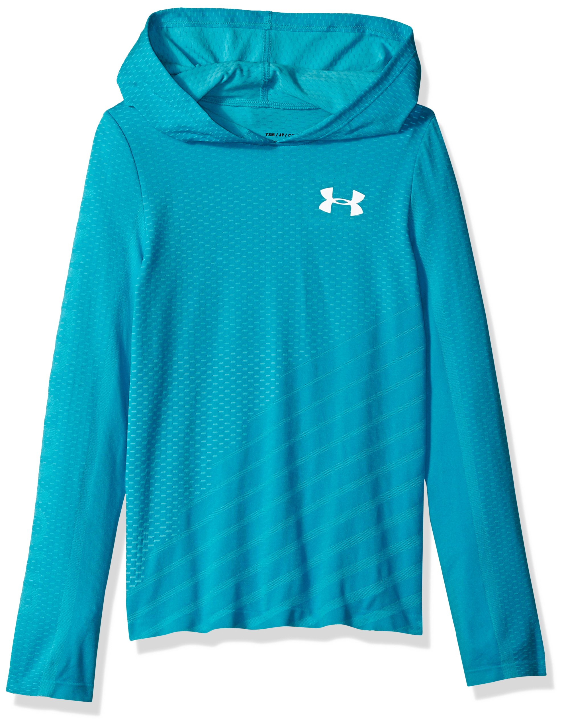 Under Armour Girls Seamless Hoodie, Venetian Blue (448)/White, Youth X-Large by Under Armour
