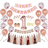 """Ellia First Birthday Girl Decorations, 1st Smash Cake Fun Party Set, Rose Gold Pink Decor -""""One"""" Topper, Confetti Balloons, Bday Bunting,""""I am One"""" Banner, Tassels, Ribbon, Heart Sticks"""