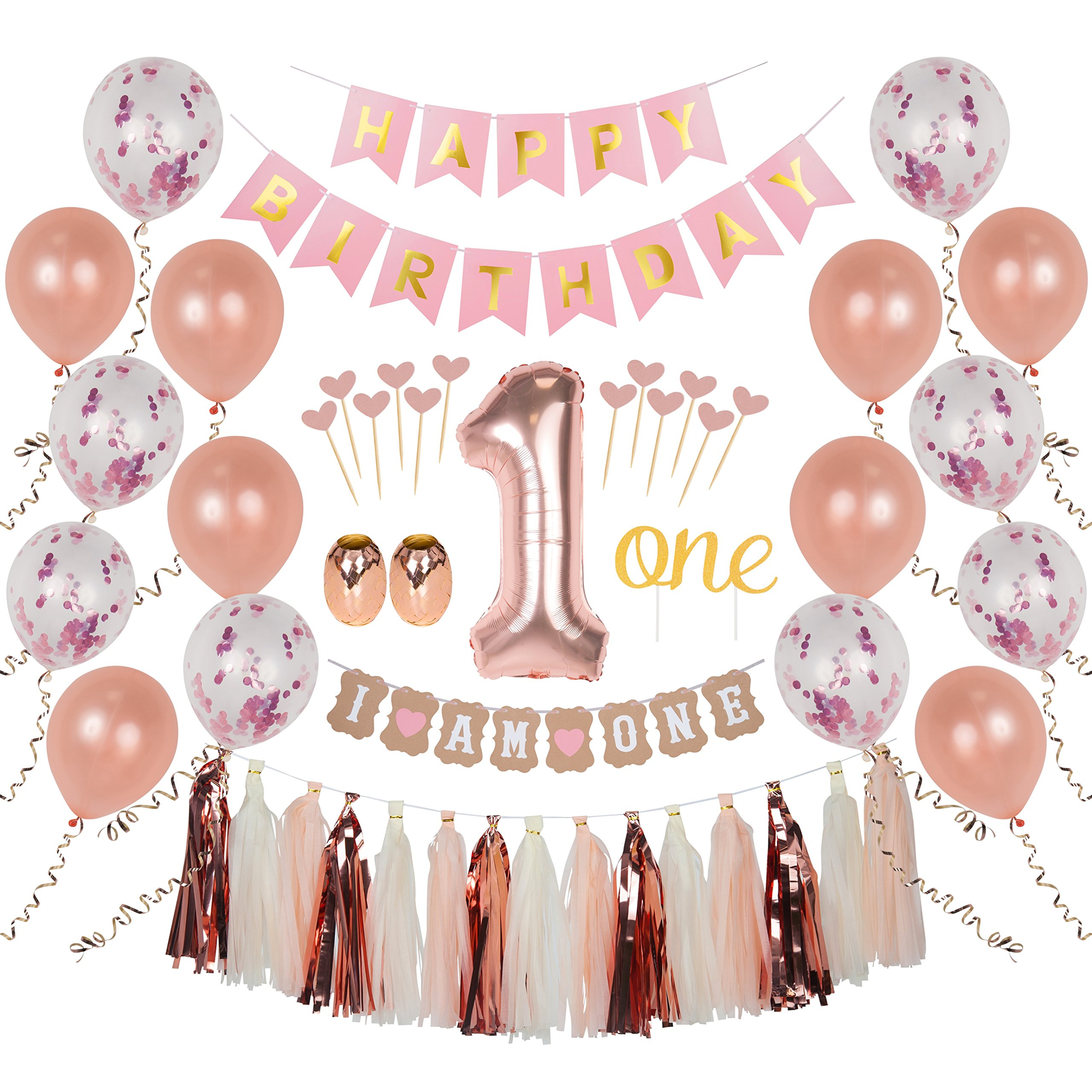 Ellia First Birthday Girl Decorations, 1st Smash Cake Fun Party Set, Rose Gold Pink Decor - ''One'' Topper, Confetti Balloons, Bday Bunting, ''I am One'' Banner, Tassels, Ribbon, Heart Sticks by Ellia