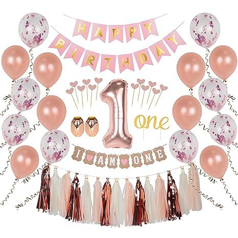 Amazon Com Ellia First Birthday Girl Decorations 1st Smash Cake
