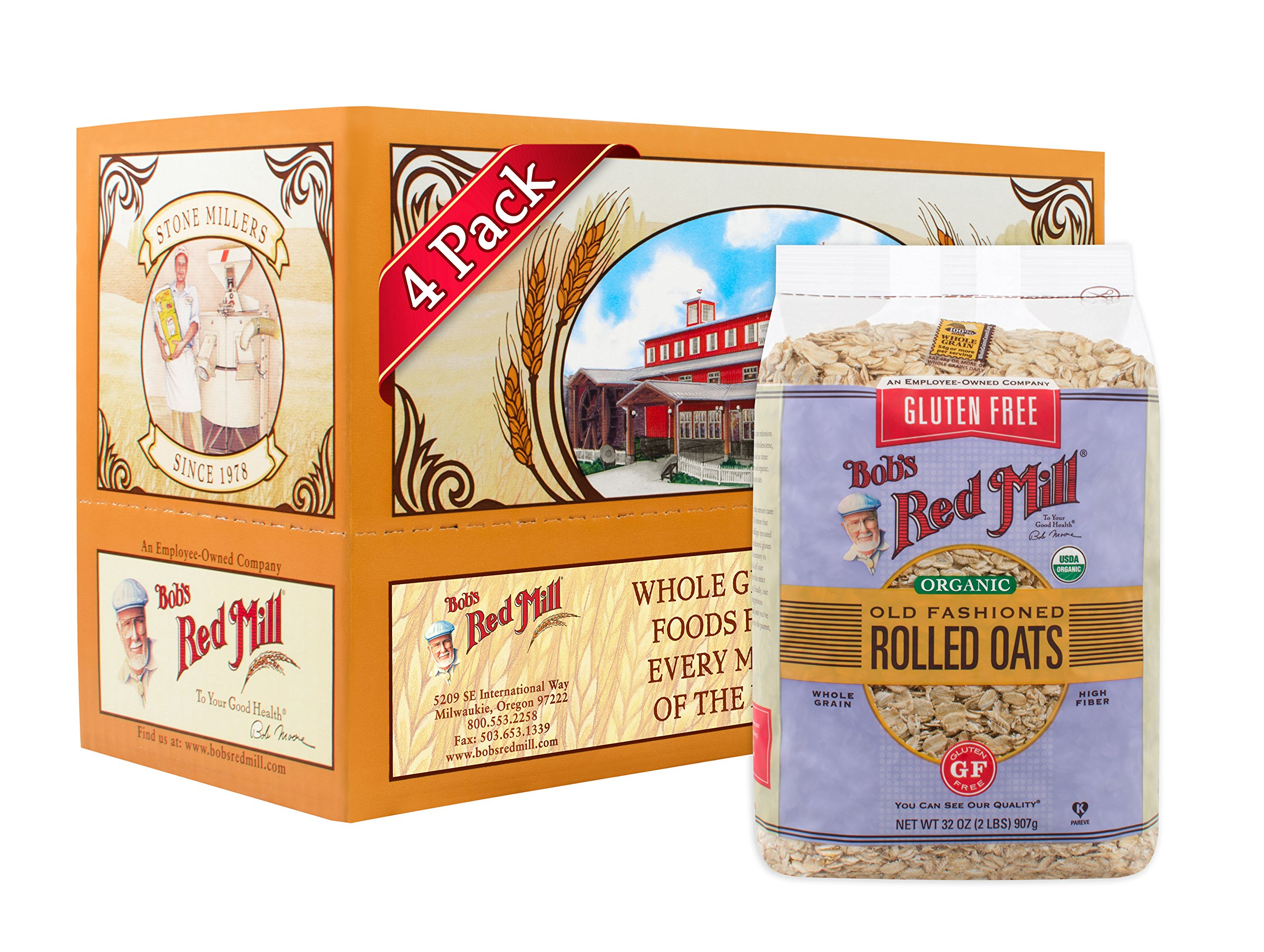 Bob's Red Mill Gluten Free Organic Old Fashioned Rolled Oats, 32 Ounce, 4 Count by Bob's Red Mill