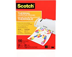 """Scotch Thermal Laminating Sheets, 9"""" x 11.5"""", 3-Mil Thick, 100 Laminating Pouches"""