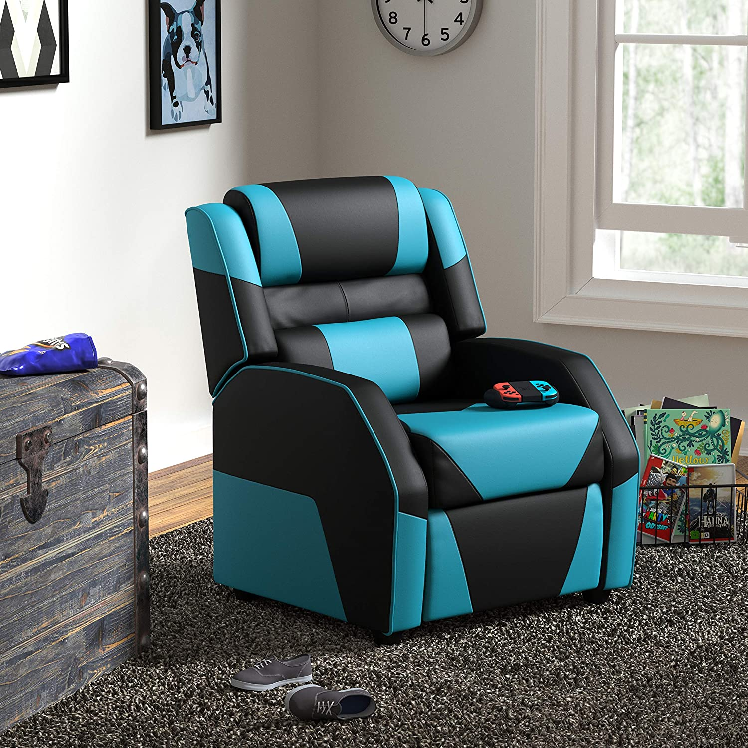 Age Group Basics Kids//Youth Gaming Recliner with Headrest and Back Pillow 5 Black and Blue