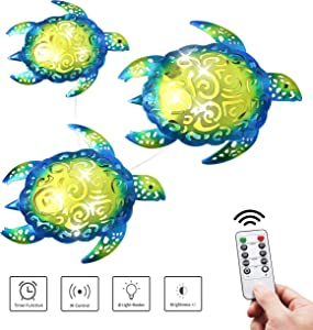 YOUIN LED Metal Turtle Wall Decor 3D Beach Sea Theme Party Night Light Hanging Timer Decorations for Indoor Outdoor House Living Room, Set of 3