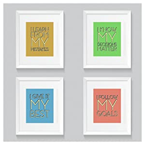 Positive Statement Poster Set – Four Posters – 9 x 12 – Motivational – Inspirational – Growth Mindset – Classroom Decor – School Counselor – Educator – Administrator