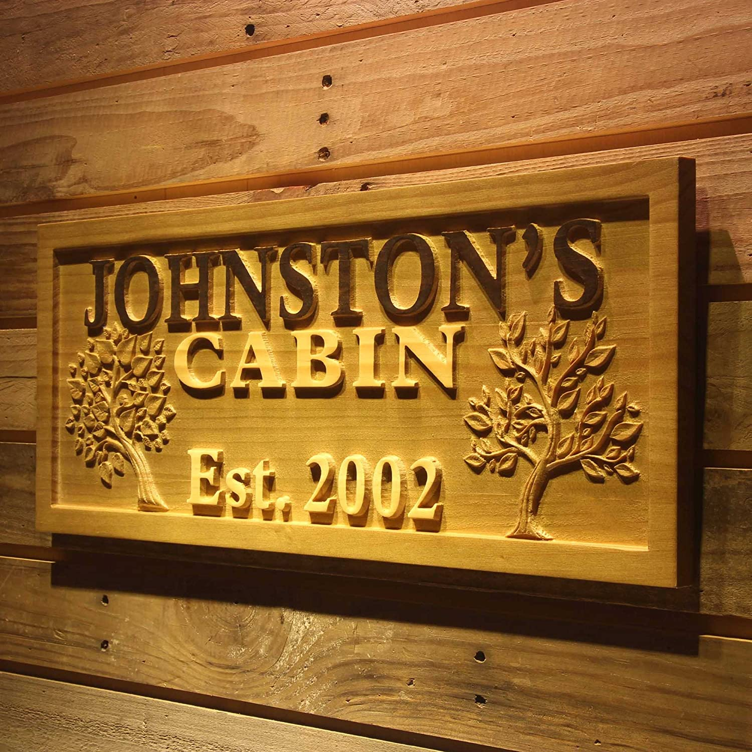 """ADVPRO wpa0101 Name Personalized Cabin Big Tree Established Date Wood Engraved Wooden Sign - Standard 23"""" x 9.25"""""""