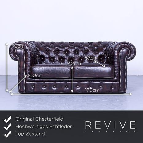 Chesterfield - Club sofá marrón mocca piel 2 plazas sofá ...