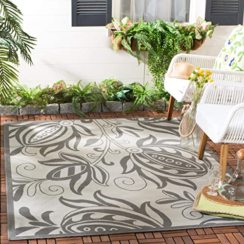 Safavieh Courtyard Collection CY6109-78 Light Grey and Anthracite Indoor Outdoor Area Rug 8 x 11